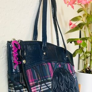 Coach Tote Laura Signature Magenta and Blue Plaid